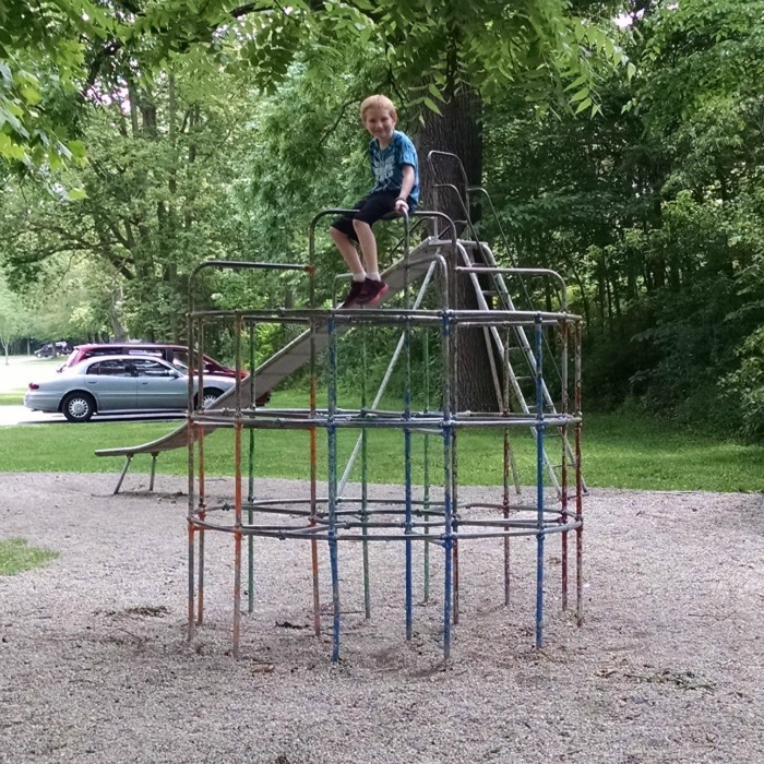Big Red on metal climber at Young's Cove in Tawawa Park