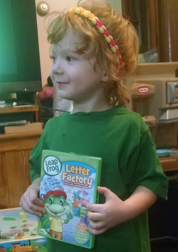 Lil' Red holding Letter Factory Dvd