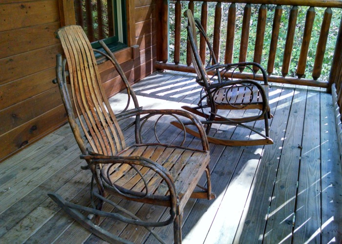 rocking chairs on cabin porch
