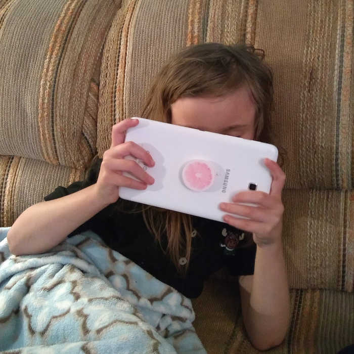 Girl playing on phone