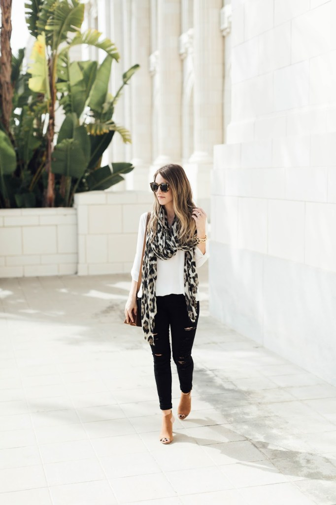 Johnston & Murphy Brianna Buckle Bootie Hanngian Cap Toe Nordstrom Leopard Scarf Something Beautiful The Blog Daryl-Ann Denner