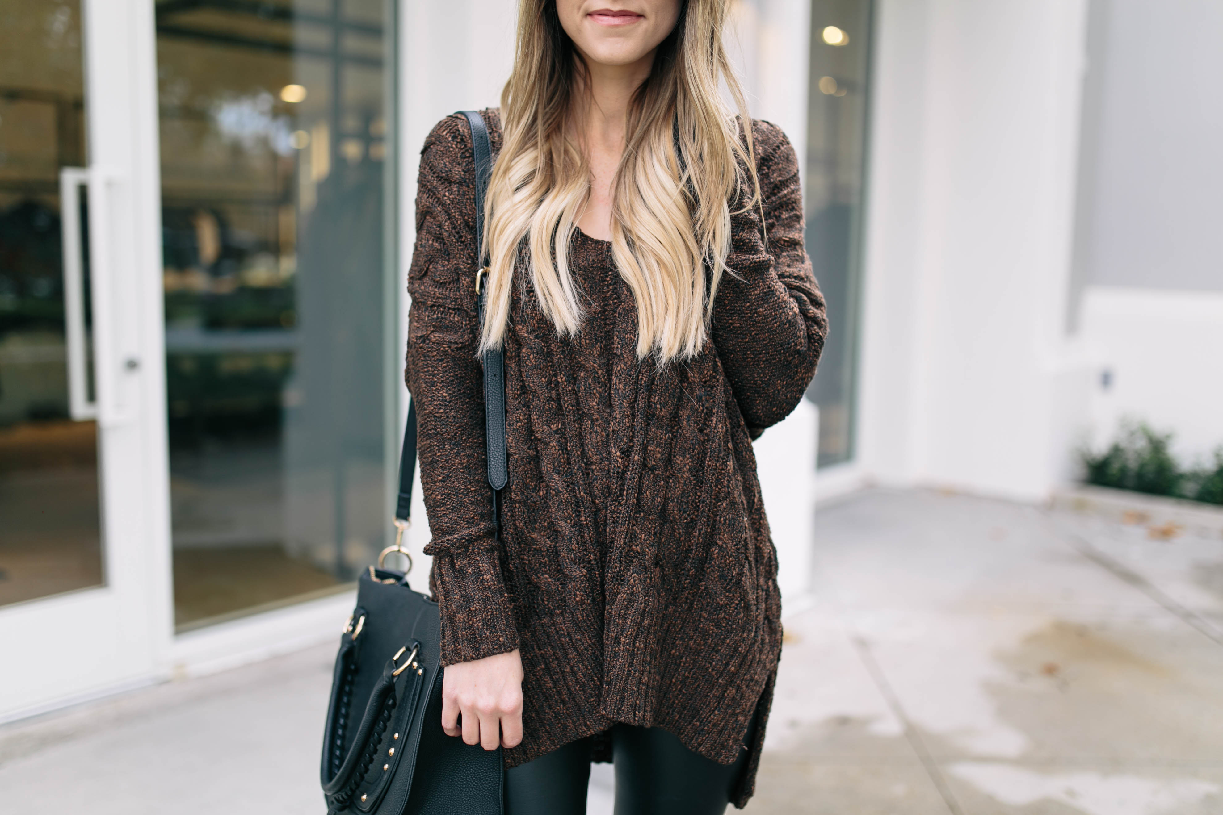 Brown Cable Knit Sweater | Something Beautiful