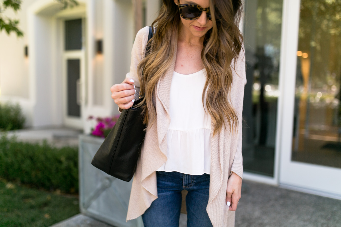 Daryl-Ann Denner wears Leith Easy Circle Cardigan from the Nordstrom Anniversary Sale 2017 with Topshop Peplum Cami