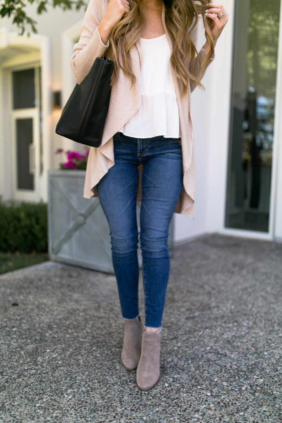 Daryl-Ann Denner wears Leith Easy Circle Cardigan from the Nordstrom Anniversary Sale 2017 with Vince Camuto Fileana booties