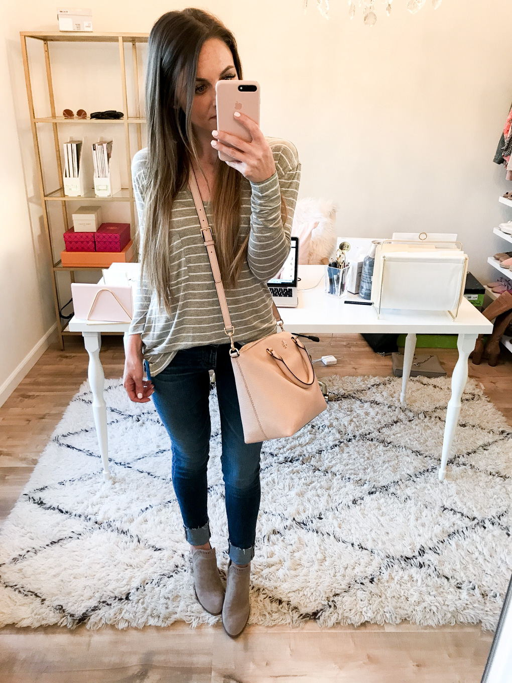 Daryl-Ann Denner wears a BP long sleeve tee and Vince Camuto Fileana Split Shaft Booties and Tory Burch Frida from the nordstrom anniversary sale 2017