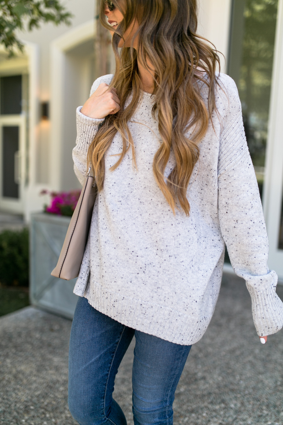 Daryl-Ann Denner wears zip-back pullover sweater from nordstrom anniversary sale 2017 with loose waves