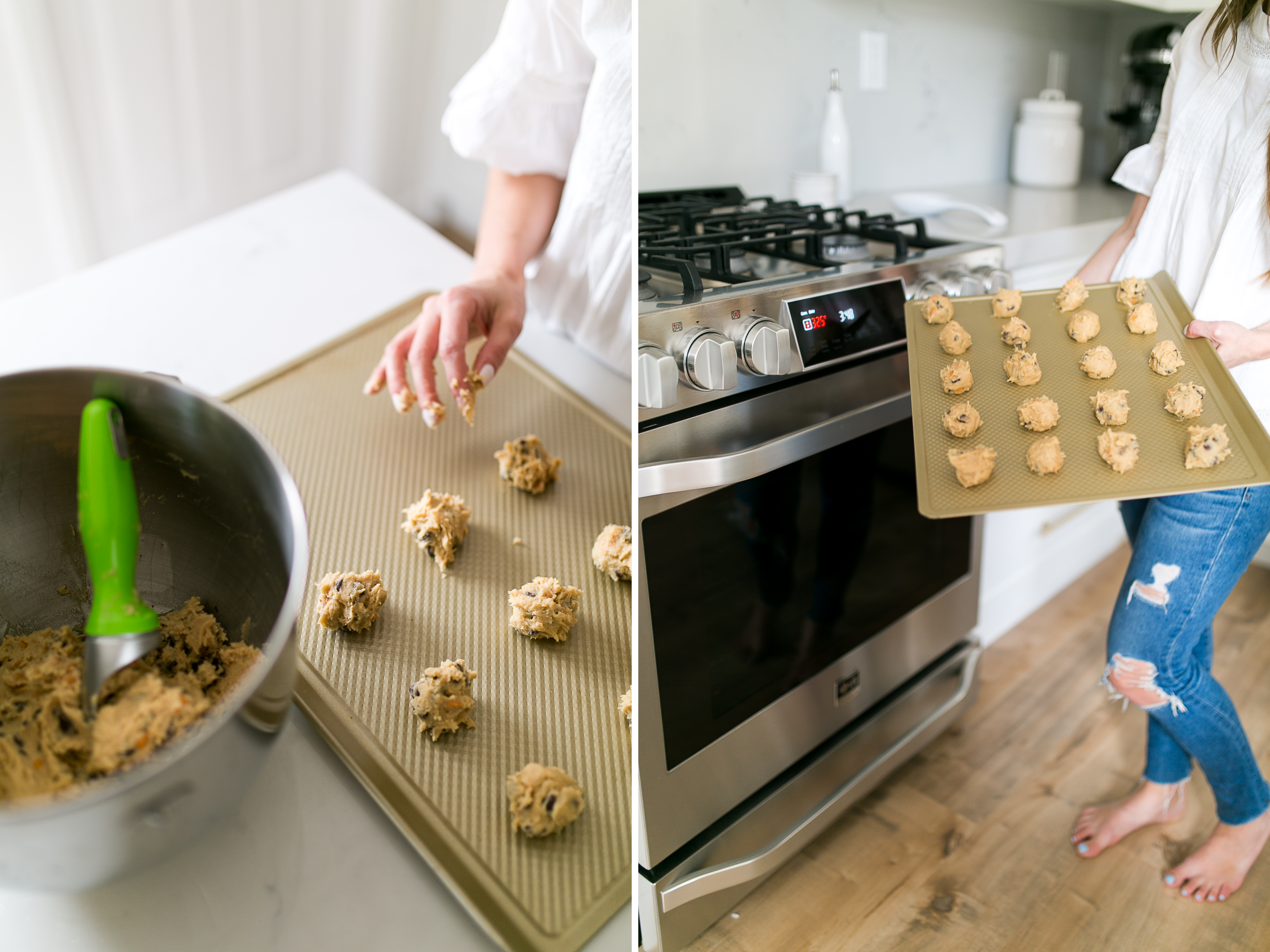 daryl-ann denner reveals white marble kitchen and shares chocolate chip cookie recipe