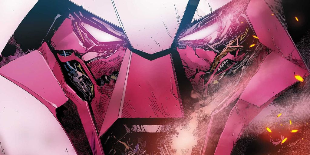 The face of Nimrod from the cover of X-Men #20, which outdoes TMNT: The Last Ronin this week.