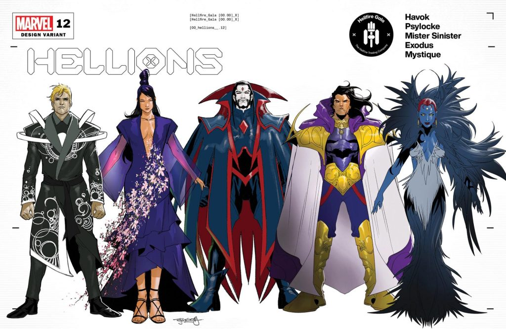 The cast of Hellions in their Hellfire Gala designs, including Havok, Psylocke, Mister Sinister, Exodus, and Mystique.