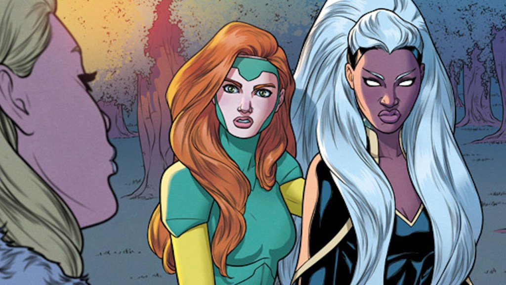 Jean Grey and Storm standing side-by-side.
