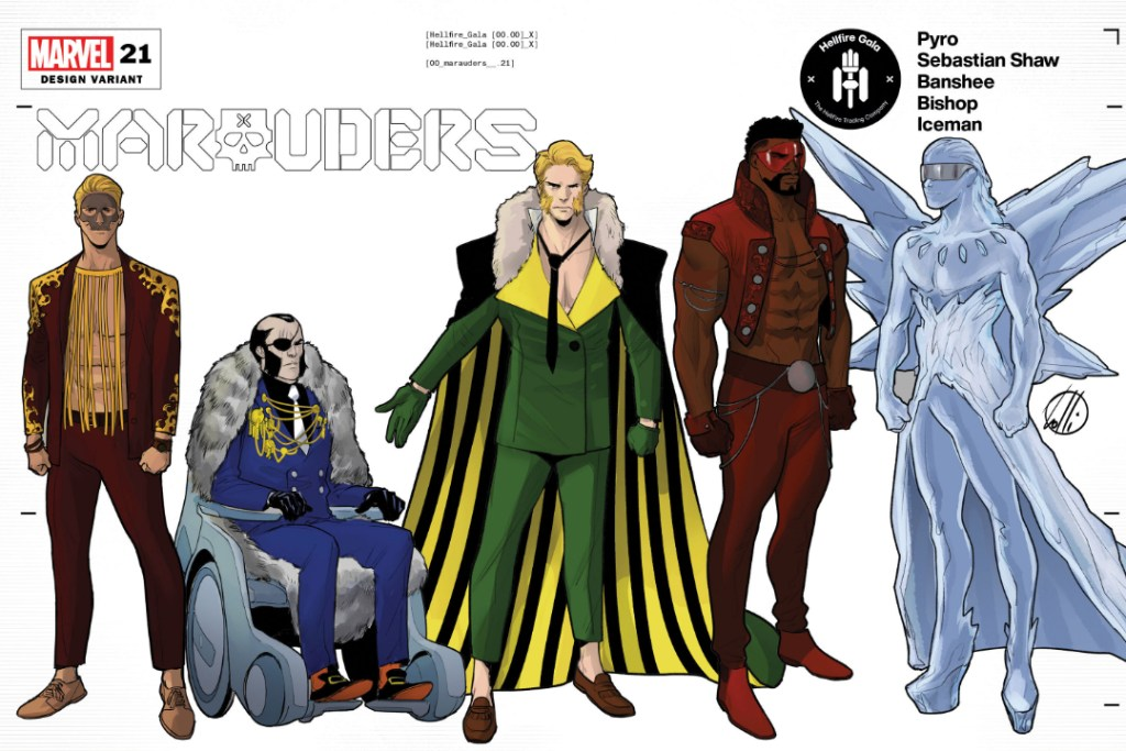 The cast of Marauders in their Hellfire Gala designs, including Pyro, Sebastian Shaw, Banshee, Bishop, and Iceman.