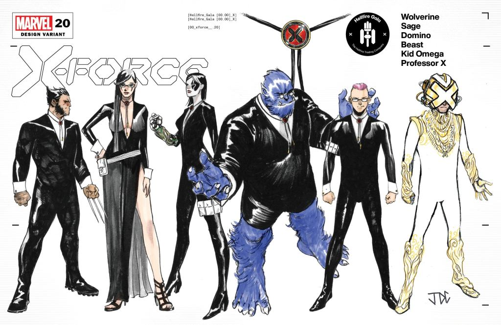 The cast of X-Force in their Hellfire Gala designs, including Wolverine, Sage, Domino, Beast, Kid Omega, and Professor X.