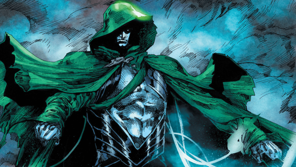 The Spectre stands up in front of clouds.