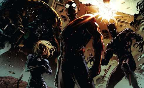 Marvel's Dark Ages begins this week, with the Thing, Sue Storm, Spider-Man, and Black Panther on the cover, masked in shadow.