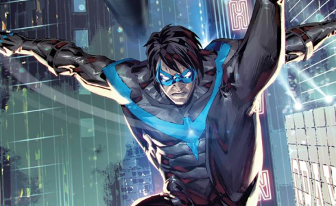Nightwing soars through the city skylines on the alternate cover for Titans United.