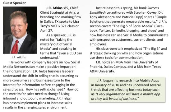 Professional Speaker J.R. Atkins teaches at Texas A&M University Marketing Class