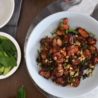 Stir Fried Chicken with Lime Leaves and Garlic- Guest Post from The Spice Adventuress
