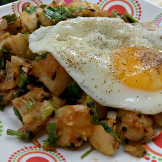 Laura's Indian Spiced Potato Hash with Fried Egg