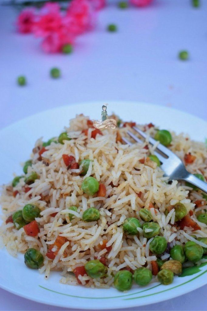 Carrot Green Peas Pilaf at Home
