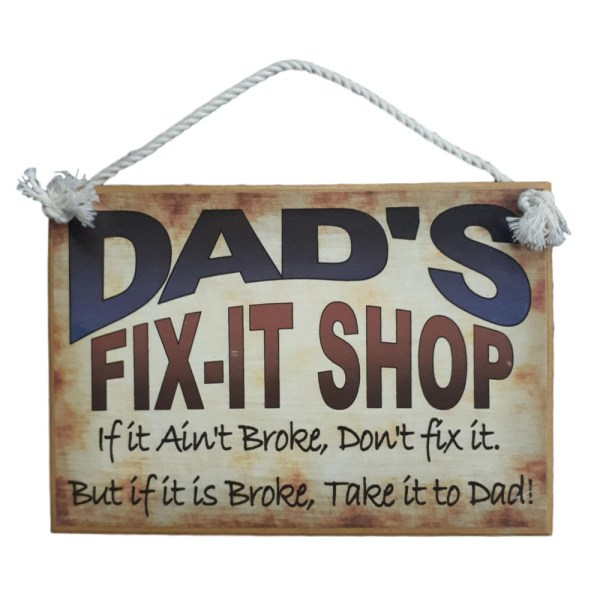 Country Printed Quality Wooden Sign Dads Fix It Shop Plaque New