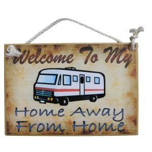 Country Printed Quality Wooden Sign MOTOR HOME AWAY FROM HOME Funny Plaque