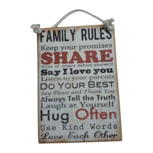 Country Printed Quality Wooden Sign FAMILY RULES 1 Funny Inspiring Plaque New