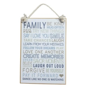 Country Printed Quality Wooden Sign with Hanger FAMILY BE KIND Inspiring Plaque New