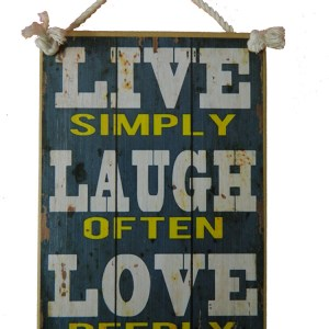 Country Printed Quality Wooden Sign LIVE SIMPLY LAUGH OFTEN LOVE DEEPLY Plaque New