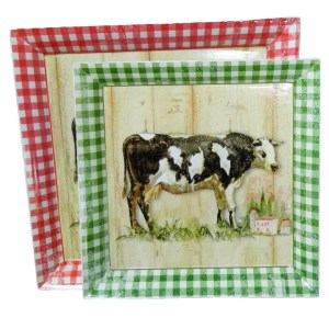 French Country Cows Cloverfield Dairy Set of 2 plates Red and Green Check New