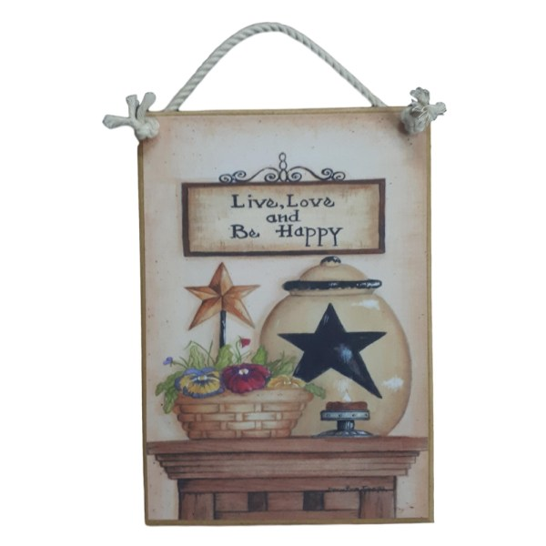 Country Printed Quality Wooden Sign LIVE LOVE AND HAPPY Funny Inspiring Plaque New