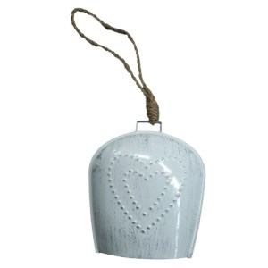French Country Vintage Inspired White Large Hanging Bell With Punched Heart New