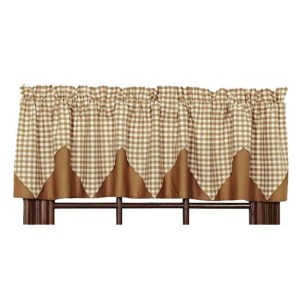 French Country Curtain Ruffled KHAKI CHECK 180x140cm Kitchen Window Valance New
