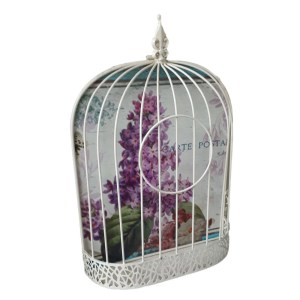 French Country Inspired Flat Backed Wall Birdcage Plant Holder Lavender New
