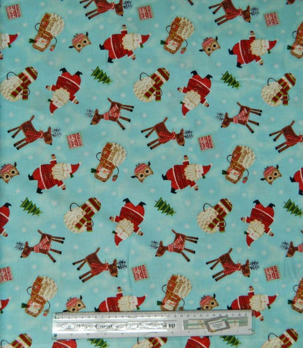 Country Patchwork Quilting Fabric Allover Sewing 50x55cm Christmas Bundle Up Aqua