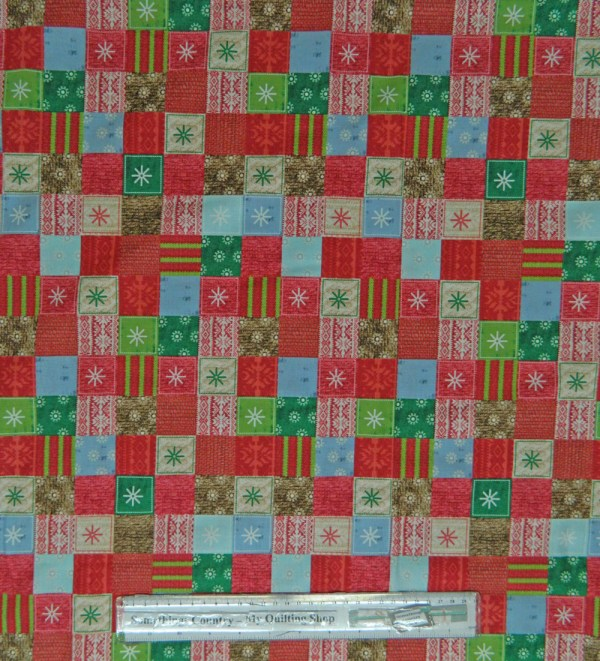Country Patchwork Quilting Fabric Allover 50x55cm Christmas Bundle Up Checks RED