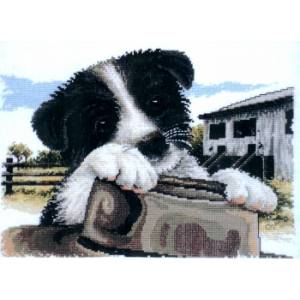 Country Threads Cross Stitch Kit - Ready for Work, Aussie Dog New