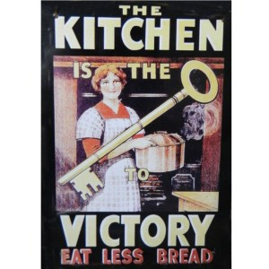 French Country Vintage Tin Sign KITCHEN VICTORY EAT LESS BREAD Wall Art New