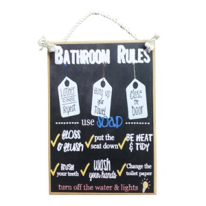 Country Printed Quality Wooden Sign Bathroom Rules Black Plaque New