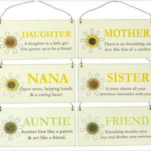 French Country Vintage Inspired Hanging Signs MUM AUNTIE SISTER NANA