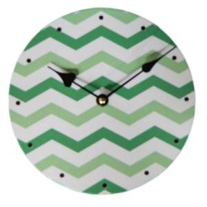 Clock French Country Vintage Inspired Wall Clocks Time GREEN CHEVRON 29cm New
