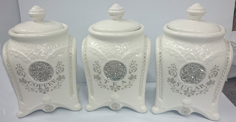 Exceptionnel French Country Elegant Kitchen Canisters, Tea, Coffee, Sugar Bling With  Seals NEW