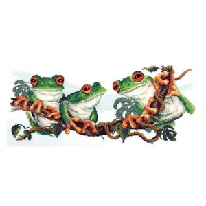 DMC Cross Stitch Kit GREEN FROGS Counted X Stitch incl Thread New