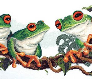 DMC Cross Stitch Kit GREEN FROGS Counted X Stitch NEW incl Thread