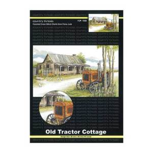 Country Threads X stitch, Counted Cross Stitch Pattern Old Cottage & Tractor NEW