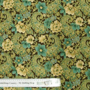 Quilting Patchwork Cotton Sewing Fabric LUX FLORAL METALLIC 50x55cm FQ NEW Material