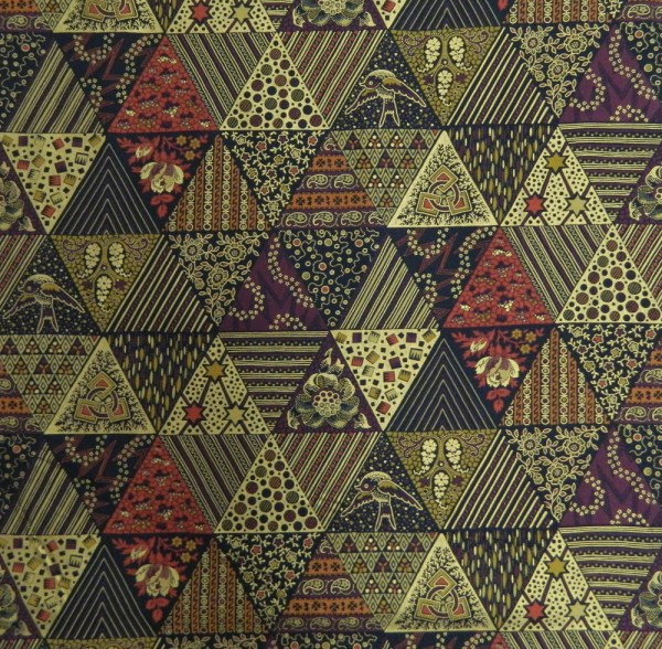 Quilting Patchwork Cotton Sewing Fabric Metallic Burg Gold