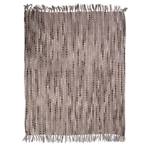 French Country Inspired Blanket Throw Black Acrylic Wool Hand Woven New