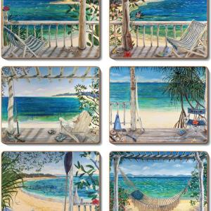 Country Inspired Kitchen BEACH BALCONIES Cinnamon Cork backed Placemats or Coasters Set 6