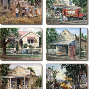Country Inspired Kitchen TIMES NOW PAST Cinnamon Cork backed Placemats/Coasters Set6
