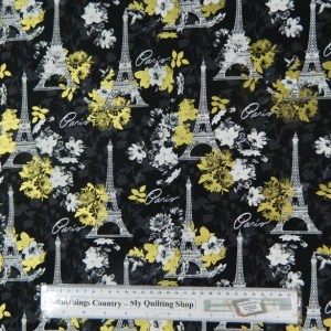 Quilting Patchwork Sewing Cotton Fabric PARIS MIDNIGHT 50x55cm FQ NEW